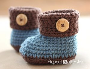 Cuffed Baby Booties - Boy