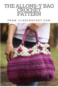 The Allons-y Bag Crochet Pattern is a crochet bag pattern designed with Red Heart yarns by Amanda Saladin