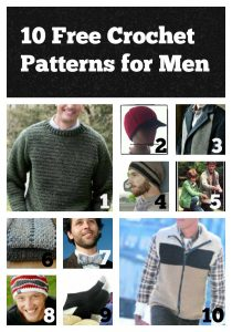 10 Free Crochet Patterns for Men compiled by Designing Crochet