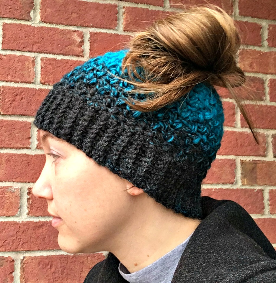 Free Crochet Pattern - Quick and Easy Messy Bun Hat from Amanda Saladin