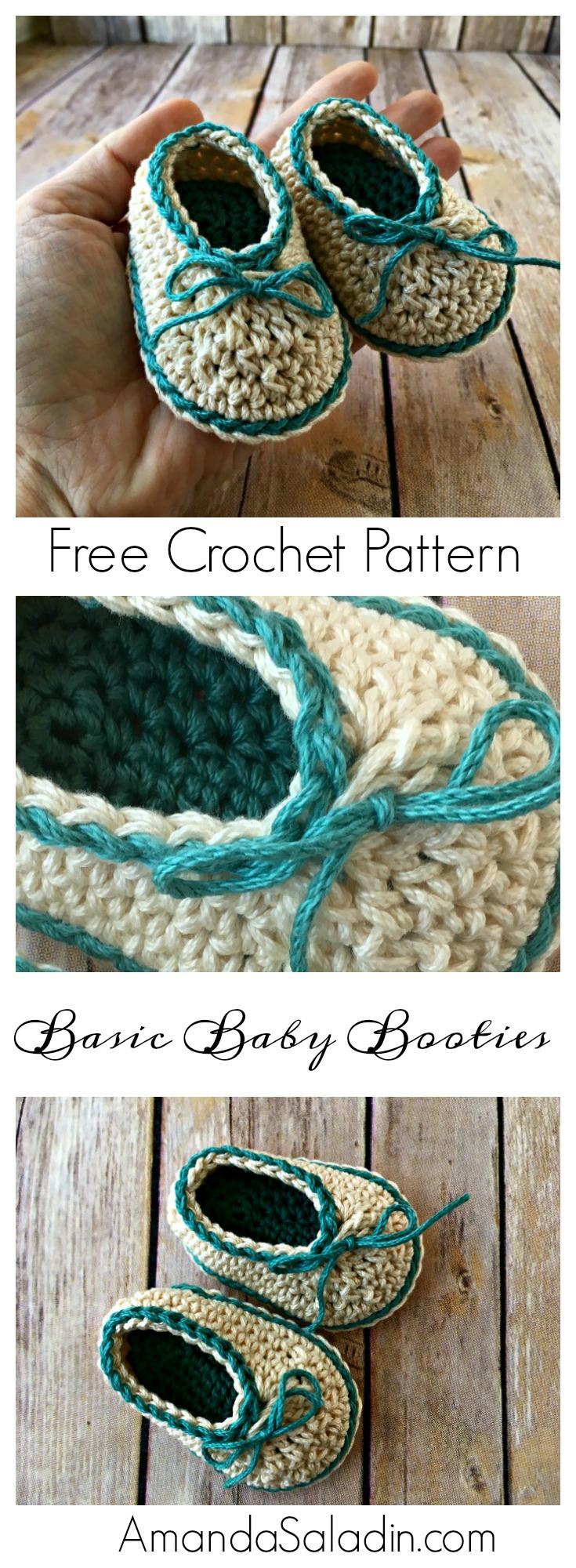 Basic Baby Booties - Free Crochet Pattern - Amanda Saladin