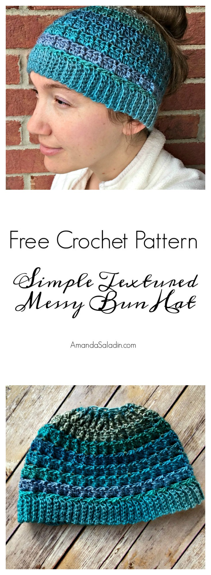 Free Crochet Pattern - Simple Textured Messy Bun Hat by Amanda Saladin