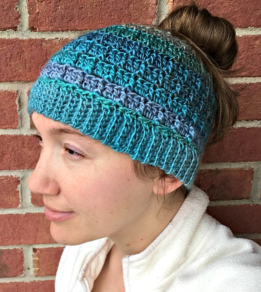 Simple Textured Messy Bun Hat - Free Crochet Pattern - Amanda Saladin