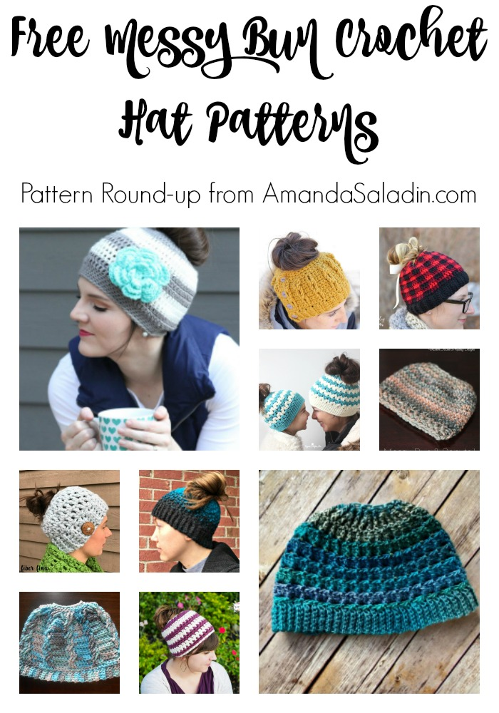 Collection of FREE messy bun crochet hat patterns
