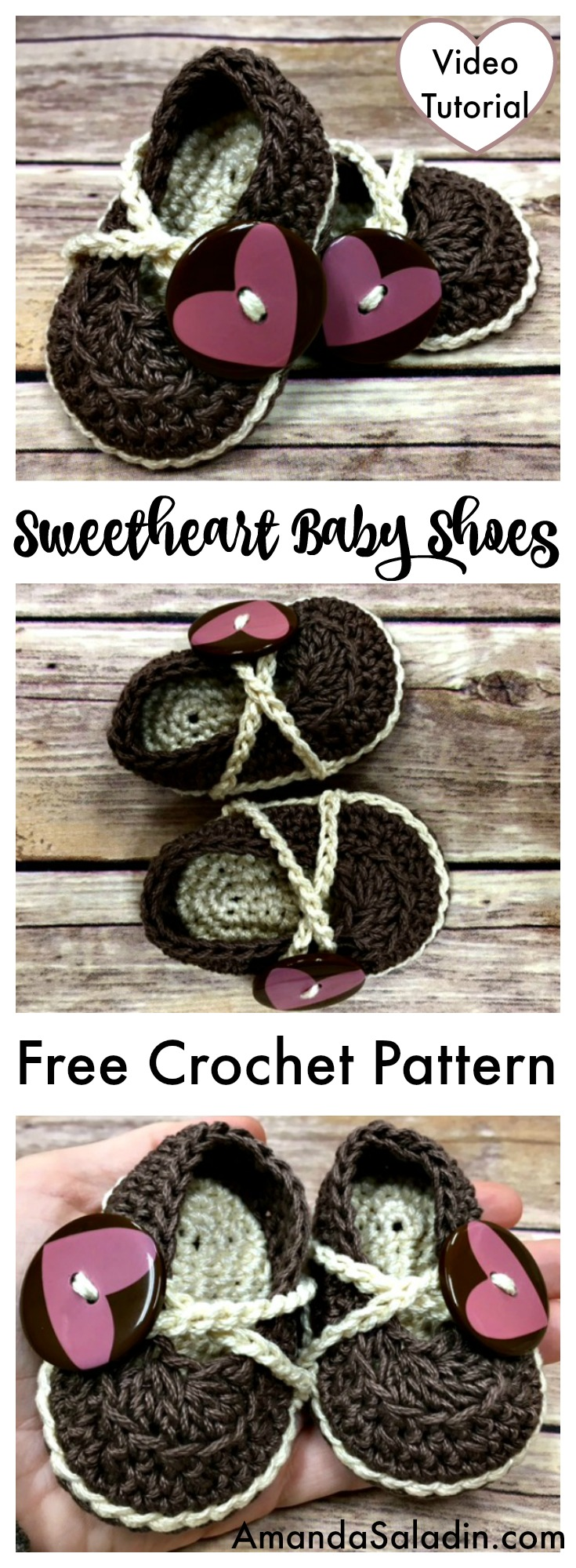 Free Pattern with Video Tutorial - Sweetheart Baby Shoes
