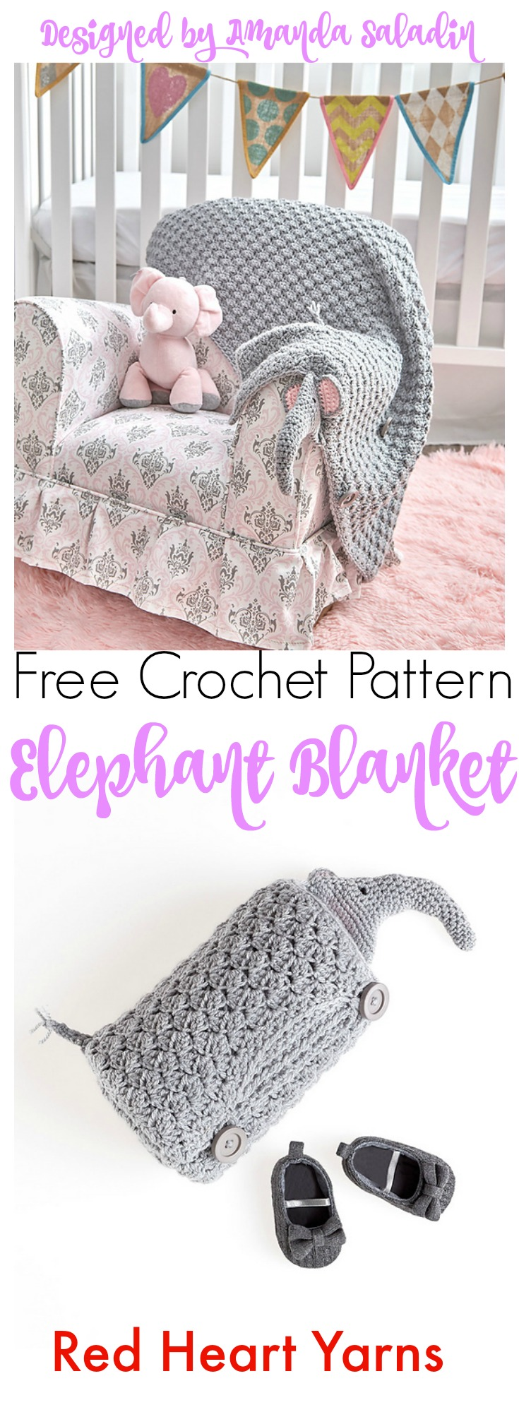 Elephant Blanket - Free Crochet Pattern - Amanda Saladin