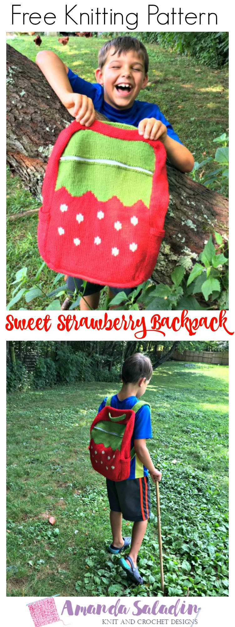Free Knitting Pattern - Sweet Strawberry Backpack