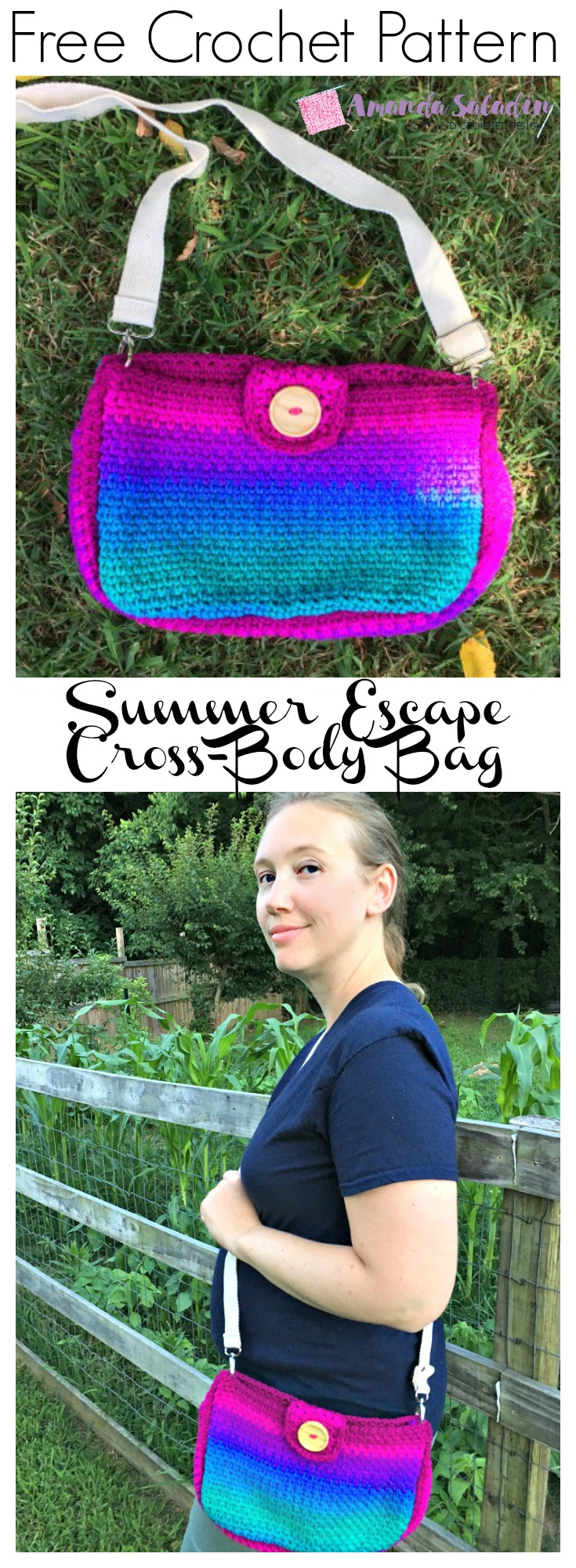 Free Crochet Pattern - Summer Escape Cross-Body Bag by Amanda Saladin