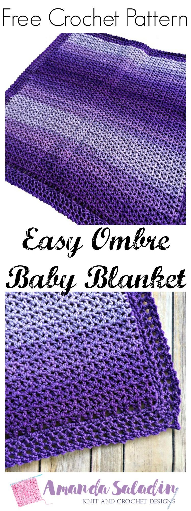 Easy Ombre Baby Blanket - Free Crochet Pattern - Amanda Saladin
