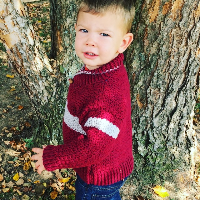 Free Crochet Pattern - Boys Shawl-Collared Sweater