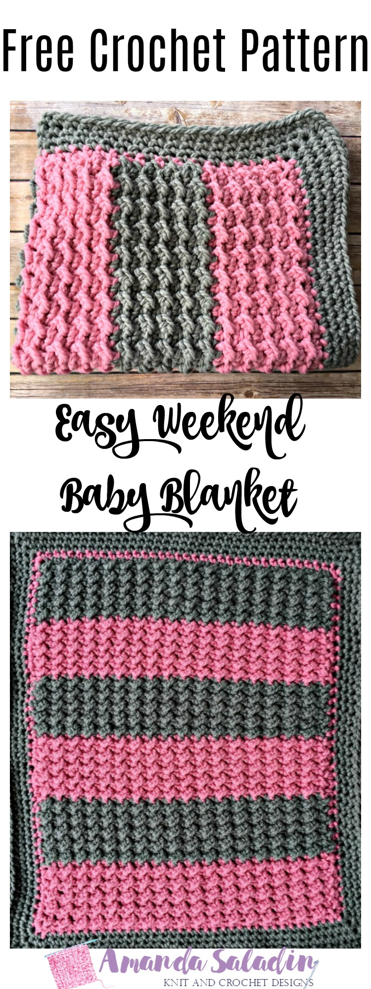 Easy Weekend Baby Blanket - Free Crochet Pattern - Amanda Saladin