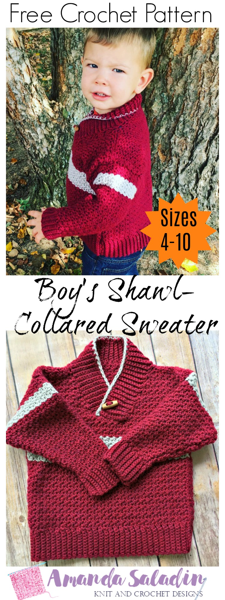Free Crochet Pattern - Boy's Shawl-Collared Pullover