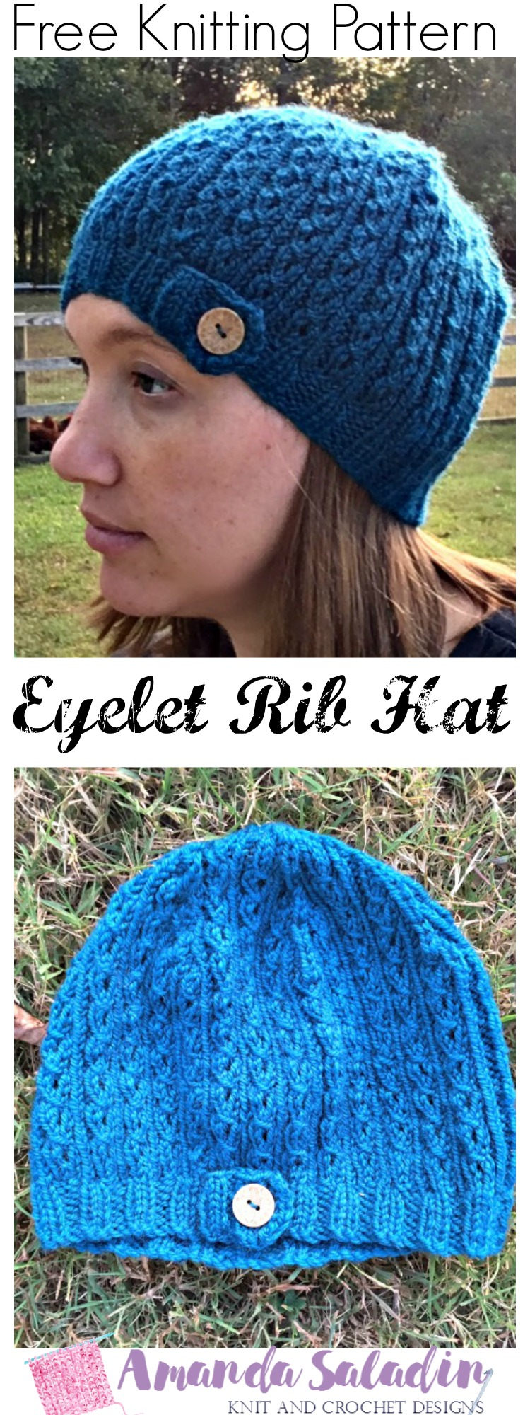 Free Knitting Pattern - Eyelet Rib Knit Hat