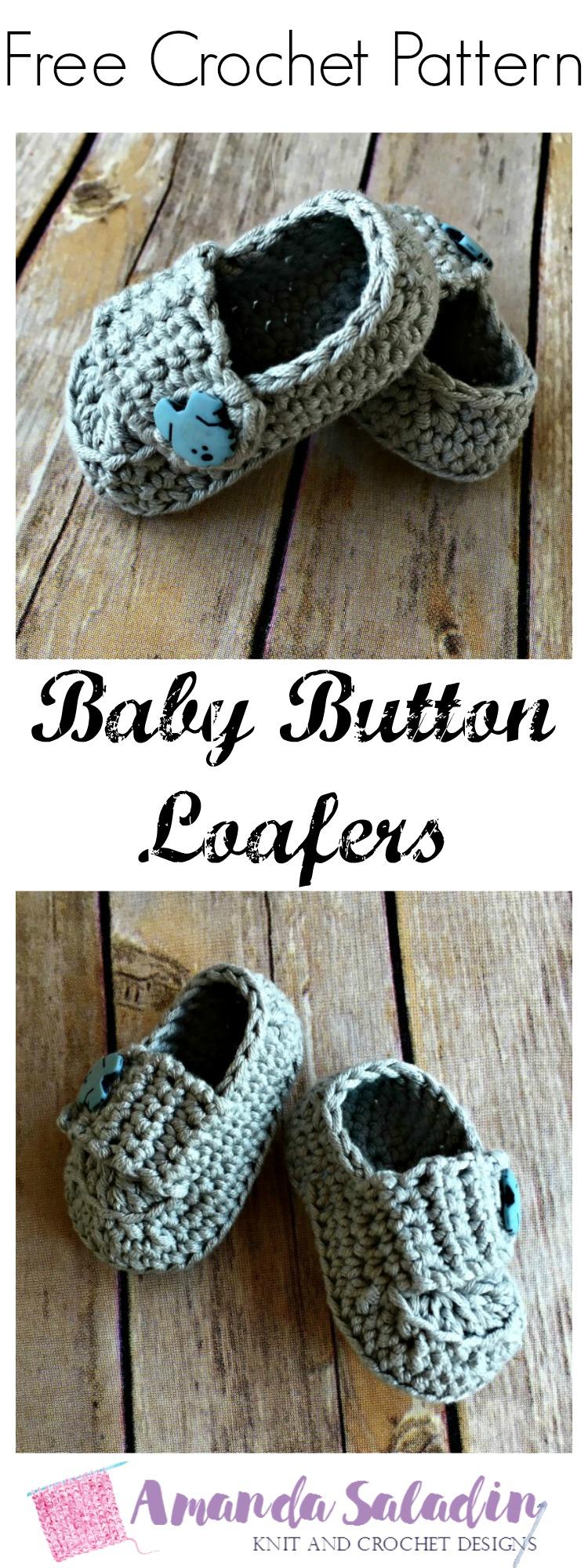 Baby Button Loafers - Free Crochet Pattern - Amanda Saladin