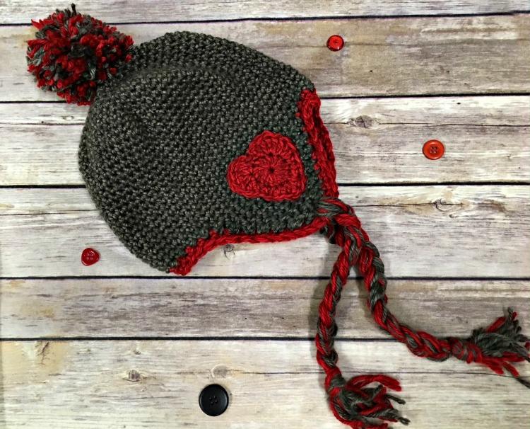 Free Crochet Pattern - Valentine Earflap Hat