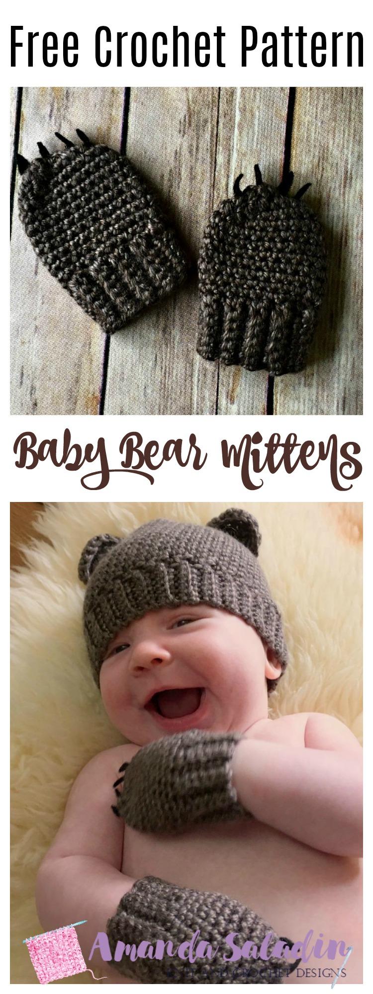 Free Crochet Pattern - Baby Bear Mittens